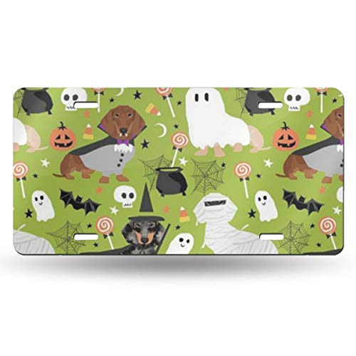 NJHURDBH Dachshund Halloween Personality Aluminum Colorful License Plate Decorative Metal Card 6