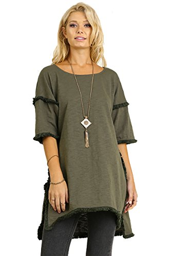 Best Seller! Textured Knit Tunic with Fringe Accents (Medium, Olive)