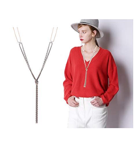 VUJANTIRY Women's Long Sweater Necklace Minimalist Lariat Pendant Necklace Christmas Knot Y Tassel Necklace (Mix Color)