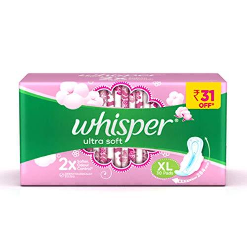 Whisper Ultra Soft Air Fresh Sanitary Pads for Women, XL 30, Napkins