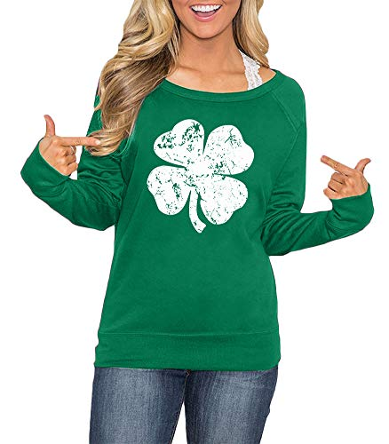 Women's Long Sleeve St. Patrick's Day Shirt Green Irish Sweatshirt Clover L