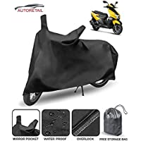 AutoRetail Waterproof Two Wheeler Bike and Scooty Cover for TVS NTORQ with Storage Bag & Buckle Lock (Black)