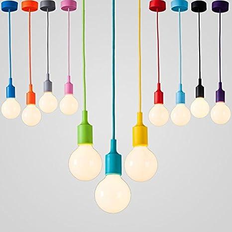 Blue Silicone Coated ES E27 Rose Pendant Ceiling Lamp Light Bulb Holder Kit
