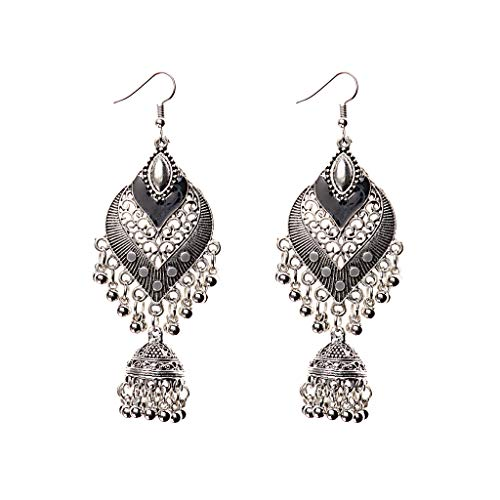 Qingchin 1 Pair Alloy Bohemia Indian Styles Earrings Cage Shape Bells Ear Rings Jewelry Gift(Black)