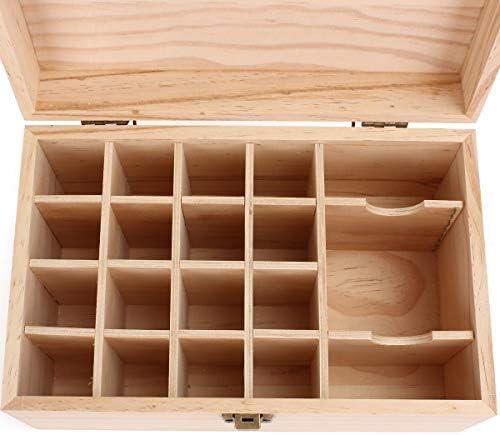 Queenwind 19 スロットエッセンシャルオイルストレージディスプレイボックス木製ケースアロマセラピーコンテナオーガナイザー