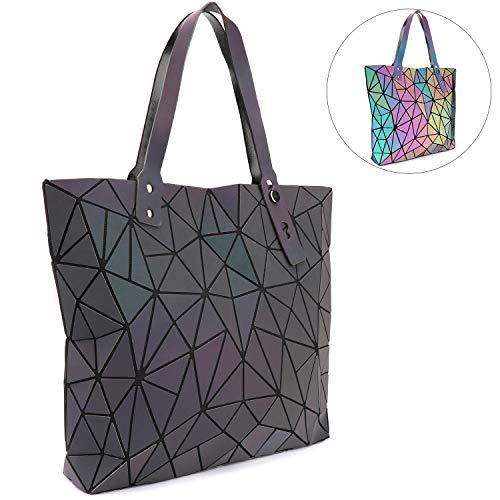 Tikea Geometric Handbag Luminous Holographic Fashion Tote Women Shopping Bag