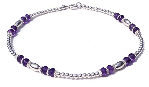 DAMALI Amethyst Gemstone Sterling Silver Handmade Beaded Anklet February Birthstone, Beach Anklet Foot Jewelry Sm to XL