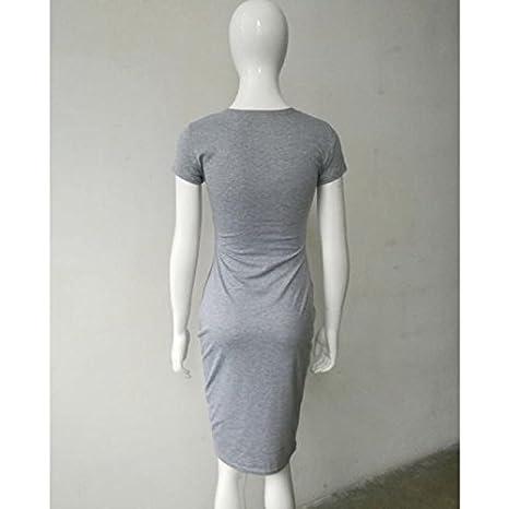 df142af3b Mosstars Vestido Largo Mujer Verano Vestido Delgado Manga Corta Moda Mujeres  Atractivas Color sólido polleras largas