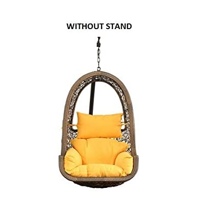 FurniFuture™ Maria Outdoor Hanging Swing Chair Without Stand - (Golden)