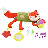 Daisy Baby Infant Plush Fox Animal Rattle Stroller Activity Bar Crib Mobile Toy Car Seat and Bed Hanging Early Educational Toy with Mirror Teether