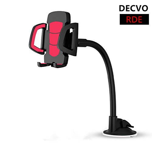 DECVO Car Windshield Phone Mount Long Arm 360° Adjustable Universal Phone Holder Strong Adhesive Suction Cup Cell Phone Holder Compatible iPhone 5/6/7/8/X, Samsung Galaxy, LG, GPS More - Phone Samsung Lock