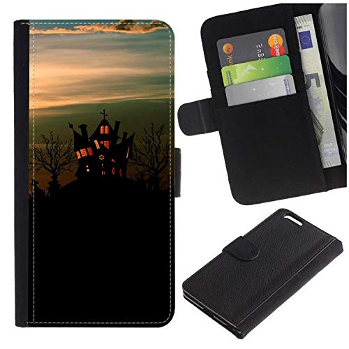 ([Halloween Hauted Castle and Sunset] for LG Aristo/LG Phoenix 3 / K8 2017 / Fortune/Risio 2 / K4 2017 / V3, Flip Leather Wallet Holsters Pouch Skin)