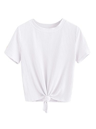 (Romwe Women's Cute Knot Front Solid Ribbed Tee Crop Top T-Shirt White XS)