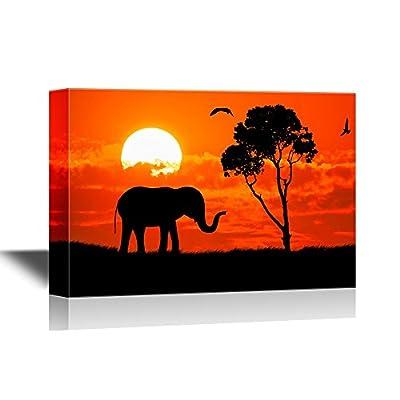 African Savanna Sunset Elephant on African Savannah at...