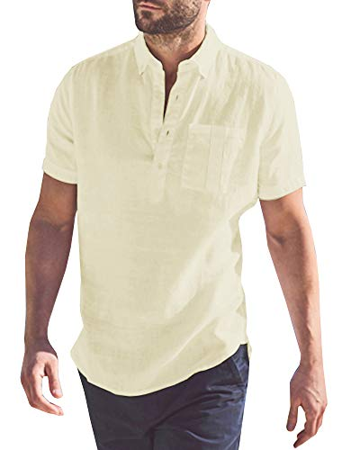 Mens Short Sleeve Polo Shirts Beach Linen Cotton Yoga Summer Casual Henley Tops with Pocket Beige