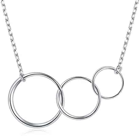 a41369a7b Ladytree Sterling Silver Three Interlocking Infinity Circles for Mom and  Granddaughter Mothers Day Jewelry Birthday Gift