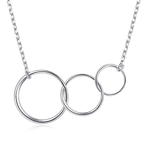 (Ladytree Sterling Silver Three Interlocking Infinity Circles for Mom and Granddaughter Mothers Day Jewelry Birthday Gift Generations Necklace for Grandma)