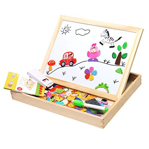 Fine Puzzle Toddler Toys, Magnetic Puzzle Game Toy Set Wooden Double Side Drawing Writing Board Multifunctional Toys Gifts for Boys Girls (A)
