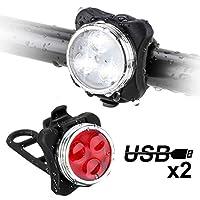 Migimi Luci Bici LED, Luci per Bicicletta Impermeabile Luci USB Ricaricabili Bici Contiene Uno Luce Anteriore(Luce Bianca) Uno Fanale Posteriore(Luce Rossa), 4 Modalità, 2 Cavi USB Incluso