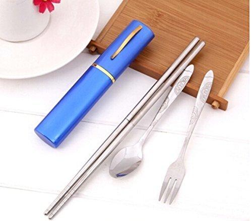 Domire Blue Aluminum Pen-Shape Shell Stainless Steel Folding Travel -