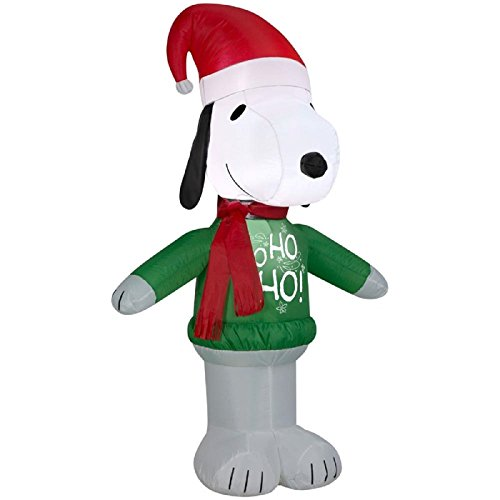 ghi Peanuts Snoopy in Santa Hat & Scarf Christmas Inflatable Airblown Decoration By Gemmy ()