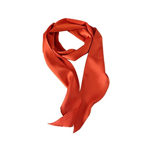 GERINLY Solid 50s Neck Scarf Orange Hair Ribbon Scarf Retro Silk Necktie Long Skinny Scarf for Purse (Orange)]()
