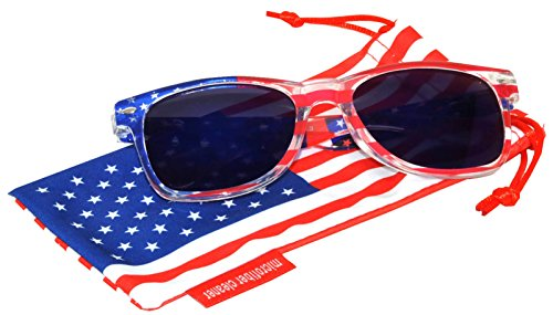 Classic American USA Patriot Flag Sunglasses Blue Mirror Lens Clear American Flag Frame - Online Usa Sunglasses