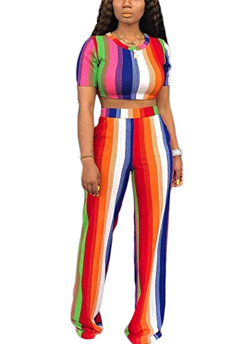 Women's Sexy 2 Piece Outfits - Elegant Slim Stripe Printed Crop Tops + High Waisted Wide Leg Pants Jumpsuits X-Large Rainbow