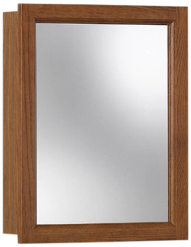 Jensen 755467 Sheridan Medicine Cabinet, Honey Oak - Surface mount design provides an unlimited number of places to install the cabinet exactly where you want it White finished solid wood frame surrounds a float glass mirror that ensures a deep, distortion-free, rich reflection to last a lifetime One fixed wood shelf - shelves-cabinets, bathroom-fixtures-hardware, bathroom - 411hC0c2v8L -
