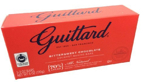 Bittersweet Baking Bar - Guittard, 70% Bittersweet Cocoa Baking Bars, Semi Sweet, 6oz Package (Pack of 4)
