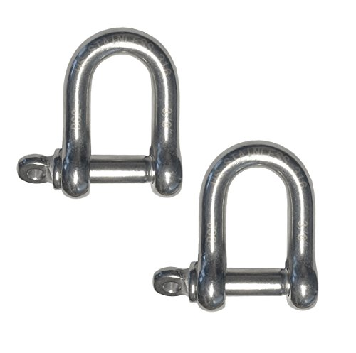 2 Pieces Stainless Steel 316 Forged D Shackle Marine Grade 3/8'' (10mm) Dee by US Stainless