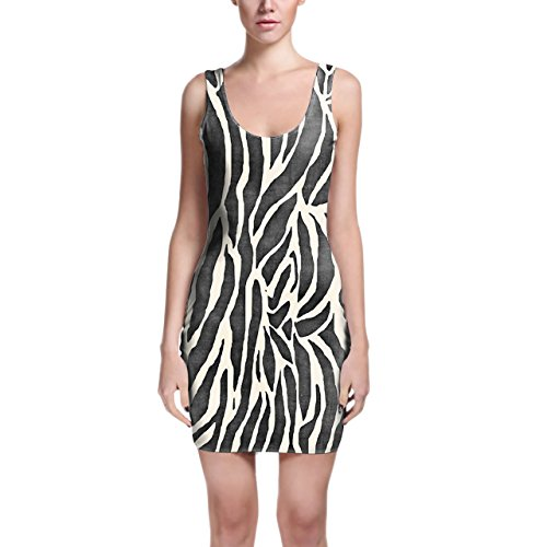 Zebra Print Bodycon vestido XS-3X L sin mangas elástico corto vestido