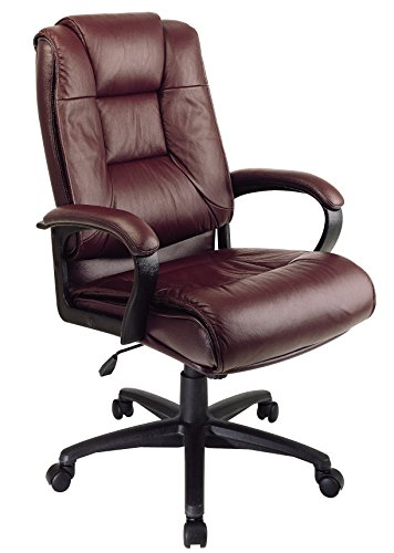 Burgundy Office Chairs - Office Star EX5162-4 Leather High-Back Office Chair, Burgundy
