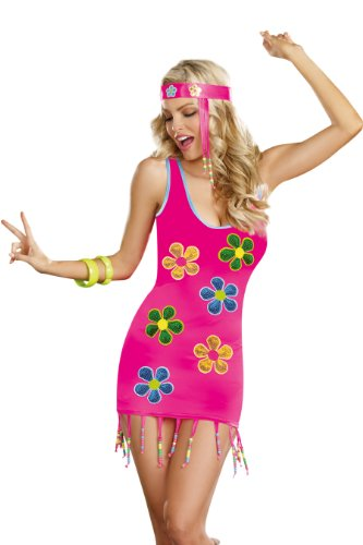 [Dreamgirl Groovy Baby, Pink, Medium] (70s Plastic Halloween Costumes)