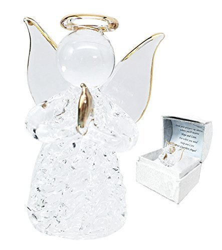 Beautiful Inspirational Handblown Glass Art Prayer Guardian Angel Ornament Figurine Collectible In Window Gift Box For Children Teens Loved Ones Encouragement Present ()