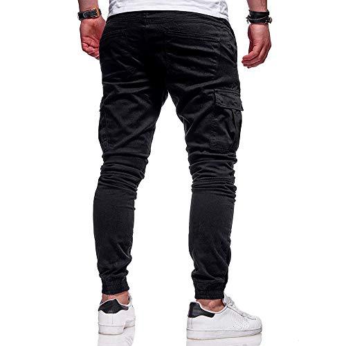 Colore moda Pantaloni Con Larghi Da Pantalone Casual Puro Uomo Tuta Nero Coulisse Fasciatura Sportivi Sport Cloom wUUYx7