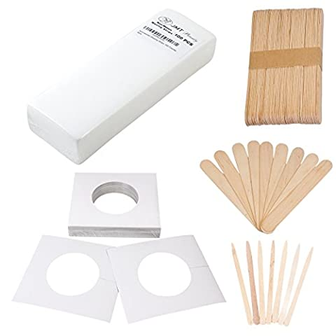 JMT Beauty 100 Large Waxing Strips, 60 Large wooden sticks, 60 Extra small wooden sticks, 30 Disposable - Non Woven Waxing