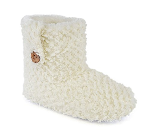 Amazing Health Warm Ankle Boot Slippers for Women and Girls Cream