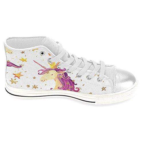 Rentprint Dames Canvas Schoenen Hoge Sneakers Sneakers Lace Up Sneakers Fashion Vorm Schattige Eenhoorn Prinses Wit