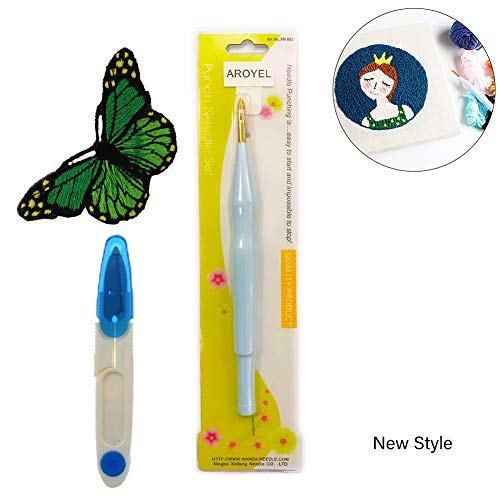 Magic Embroidery Pen Embroidery Needle Weaving Tool, Adjustable Punch Needle Stitching Kit Rug Yarn Needle Embroidery Pen Felting Threader Needles Beginners Beginner (Cameo Punchneedle)