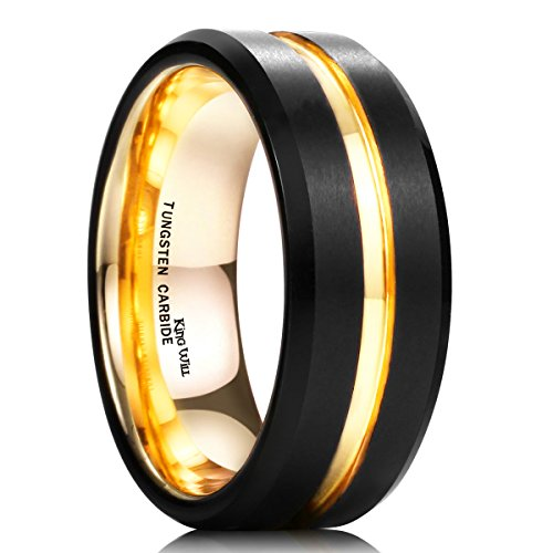 King Will Duo Mens 8mm Black Matte Finish Tungsten Carbide Ring 18K Gold Plated Beveled Edge Wedding Band 10.5