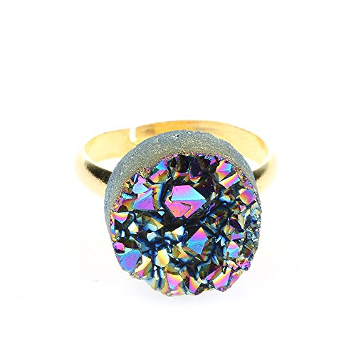 Agate Ring Stone (ShinyJewelry Titanium Natural Stone Quartz Agate Druzy Ring for Women(Red Colorful,Round))