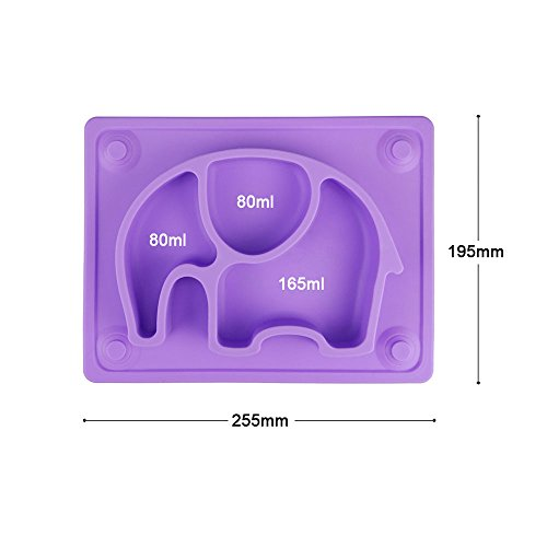 Mini Baby Placemat, SILIVO 10''x7.7''x1'' Silicone Child Feeding Mat with Suction Cup Fits Most Highchair Trays (Purple) by SILIVO (Image #6)