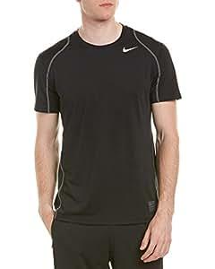 Nike Men's Pro Men's Fitted Short sleeve Shirt, Black/Dark Grey/White, Small