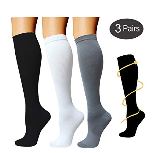 3 Pairs Knee High Graduated Compression Socks For Women and Men - Best Medical, Nursing, Travel & Flight Socks - Running & Fitness - 15-20mmHg (S/M, Black/White)