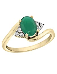 10K Yellow Gold Natural Emerald Ring Oval 7x5mm Diamond Accents, sizes 5 - 10