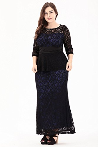 Smile YKK Elegante Damen Lace Spitze Langes Kleid Abendkleid ...