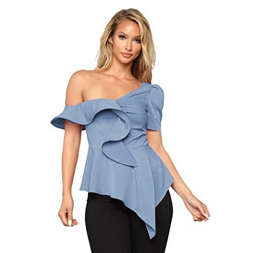 JMETRIE Women Ruffle Sexy One Shoulder Short Sleeve Blouse Sleeveless Crop Tops Shirt Light Blue