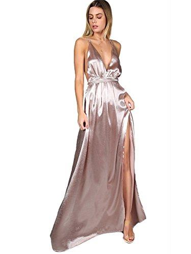 Bretelle Crois SOLY Mariage avec Col Divis Rose Robe Party Au HUX Haut Plongeant lgant Longue Dos Robe Femme Robe de rwZEXw8q