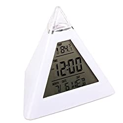 Rukiwa New Fashion Pyramid Temperature 7 Colors LED Change Backlight LED Alarm Clock